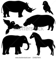 Set 1 of african animals silhouettes. Vector set 1 of african animals silhouettes. Silhouette Pictures, Animal Silhouette, Silhouette Vector, Royalty Free Pictures, Royalty Free Stock Photos, Hippo Drawing, Safari Decorations, Jungle Theme, Jungle Safari