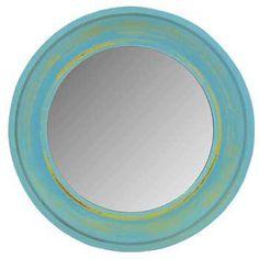 """Blue - 10 1/2"""" Bright Round Mirror"""