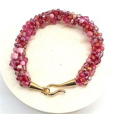 Bracelet Pink Beads Multi Shades of Pink Beaded by WildBeadWoman