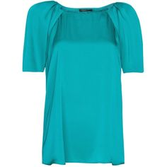 Mango Pleat Blouse, Emerald ($36) ❤ liked on Polyvore