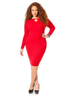 3df999ff40c Keyhole Neck Ribbed Sweater Dress Plus Size Fashion For Women
