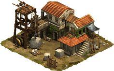Stone Mason Medieval Building concept Fantasy house Medieval houses
