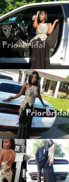 Fashion Popular Golden Lace Appliques Halter Open back Mermaid Long Prom Dresses,PB1016