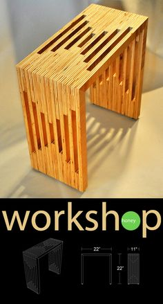 Handmade Plywood Side Table by Workshop Honey on Etsy.