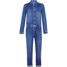 Blue Denim Overalls ($125) ❤ liked on Polyvore featuring mens