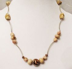 Agate Jewelry, Handmade Tiger Skin Agate, Botswana Agate, Crazy Lace Agate Reversible Noodle Necklace, Healing Gems, Neutral Colored Stones by DesignDimensions on Etsy