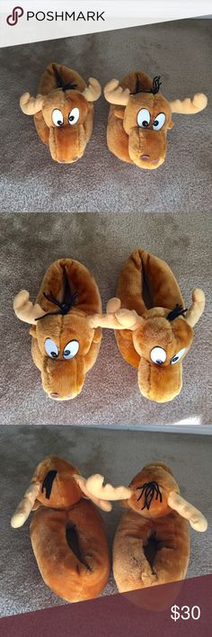 Collector's Rocky & Bullwinkle fuzzy slippers Collector's Rocky & Bullwinkle fuzzy slippers. Super cute, super comfy and super soft fun slippers that brings out the inner kid in all of us! Gently worn and shoes wear on soles. Size M 7/8.  In very nice preowned condition. Please ask any questions you may have before purchasing. 🚫Trades, 🚫Low ball offers please. Shoes Slippers