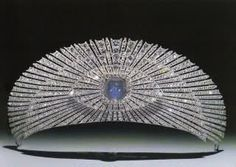The Youssopov tiara. Sunburst Kokoshnik Tiara, made by Cartier in I couldn't find any information on whether or not this tiara is linked to nobility or royalty. Either way, it's a gorgeous tiara. Royal Crown Jewels, Royal Crowns, Royal Tiaras, Royal Jewelry, Tiaras And Crowns, Antique Jewelry, Vintage Jewelry, Faberge Eier, Blue Star Sapphire