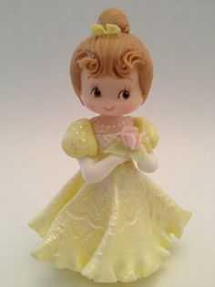Princess Inspired Cold Porcelain Belle Small Cake Topper or Decoration