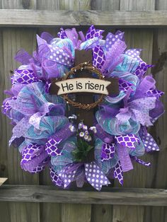 Easter he is risen cross deco mesh wreath