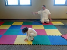 We were on a budget, so for soft flooring as well as visual fun, we used foam flooring tiles.  We found our's at Sam's