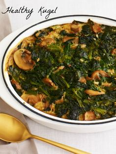 Spinach Mushroom Kugel - make it healthy and get lots of veggies with this kugel.
