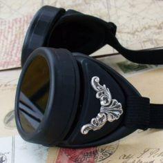 Matte Black Victorian Steampunk Goggles #SteampunkGoggles #PinToWin