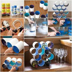 Here is a creative way to recycle tin cans and turn them into amini wine rack. Isn't that cool? Just paint the tin cans and stack them together with glue, 3 in each row. Be sure to use strong glue so that the tin cans can stick tightly together. You …