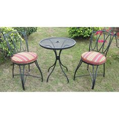 Scroll and Stripe 3-Piece Outdoor Dining Garden Bistro Set Table and 2 Seats