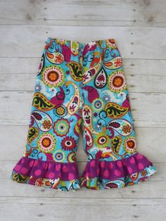 Ruffles Galore Boutique Girls Pants--Teal and Purple Paisley --Sizes 3 months-10 years