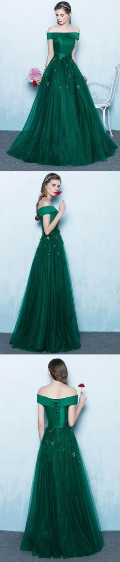 Green Off Shoulder Lace Up Back Appliques Party For Teens Prom Gown Dresses,PD00027