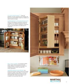 Martha Stewart, another great idea to have cook book holder attached to base of cabinet. Takes up no counter space and won't get messy spills on it.