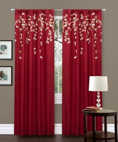 Red Flower Drop Curtain Panel   zulily