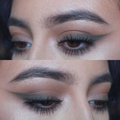 "smokey khaki green winged liner; '""Khaki= easiest way to wear green for the holidays!"" @nattyice #eye #makeup #eyeliner #smoked-out / smudged"