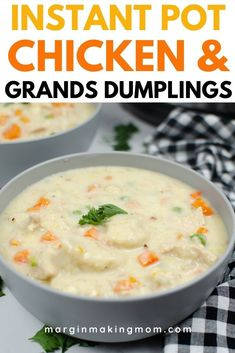 These Instant Pot chicken and dumplings are made with canned biscuits, so it's super easy to whip up a pot on a busy weeknight! Pillsbury Grands are a fabulous shortcut for this flavorful recipe!
