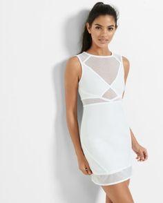 white mixed mesh sheath dress from EXPRESS