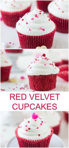 Red Velvet Cupcakes with White Chocolate Cream Cheese Frosting ~ http://blahnikbaker.com