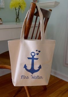 Anchor tote bag beach bag beach tote future Mrs. by rachelwalter, $16.00 SO CUTE!