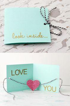 """Unique DIY Valentines Day Cards & Envelopes DIY greeting card ~ """"Look inside.Love you"""" Valentines Bricolage, Valentine Day Crafts, Be My Valentine, Valentines Day Gifts For Him Creative, Handmade Valentine Gifts, Handmade Gifts For Friends, Diy Valentines Cards, Creative Gifts, Valentines Day Gifts For Him Boyfriends"""