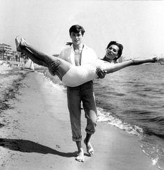 Alain Delon with Bella Darvi (Cannes -1958)