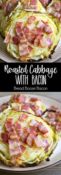 Roasted Cabbage with Bacon is an easy side dish that's perfect alongside corned beef! via /breadboozebacon/