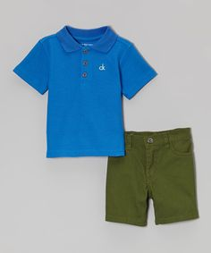 Look at this Royal Outline Polo & Green Shorts - Infant, Toddler & Boys on #zulily today!