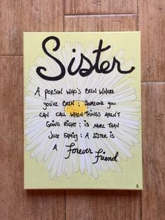 Sister Canvas Quotes Gift Flower Art By SiBelleJewelry