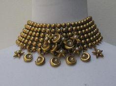 Vintage Butler Wilson Goldtone Stars Moon Necklace and Bracelet Set |до сих пор сожалею, что когда то продала этот сет...(