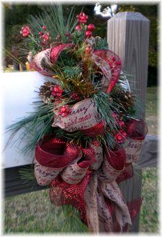 Custom, One of a Kind Mailbox Swag - Merry Christmas Red - Christmas Christmas Swags, Winter Christmas, Christmas Holidays, Merry Christmas, Burlap Christmas, Xmas, Primitive Christmas, Christmas Snowman, Christmas Christmas