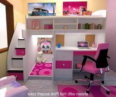bunk beds with desk for girls - Google Search #Girlsbedroomfurniture