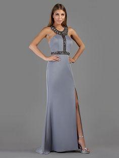 Βραδινό μακρύ φόρεμα με ανοιχτή κεντημένη πλάτη και σκίσιμο μπροστά - Όλα