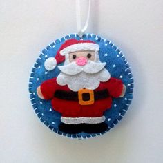 Felt Santa Claus christmas ornament snowing by DusiCrafts on Etsy