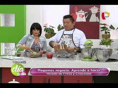 Recetas para preparar helado casero de chocolate y fresa (1/2) - YouTube
