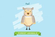 Owl Vector, forest animals. by studioworkstock on @creativework247