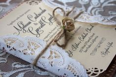 Rustic // Burlap Wedding Invitation Suite by cutesycorner on Etsy