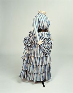 Tennis Dress: ca. 1884-1886, cotton woven in stripes, lace.