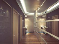 Коридор с двухуровневым светом - Дизайн интерьера квартиры г. Тюмень ул. Артамонова
