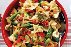 Lemony Red Pepper and Asparagus Pasta Salad (good served warm with prosciutto crisps).