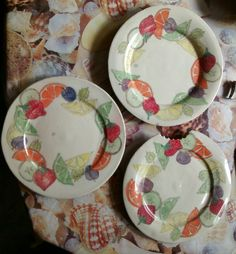 Fab pottery Fruit plates by Maria Curwell