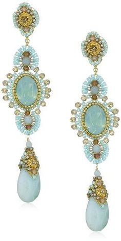 Miguel Ases Amazonite Long Drop Earrings on shopstyle.com