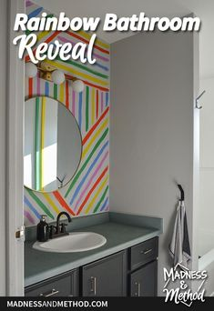 A complete painted bathroom makeover in just six weeks. This rainbow bathroom reveal is mostly neutral, but has some fun colour accents too! Striped Accent Walls, Painting Shower, Old Towels, New Toilet, Shower Rod, Grey Tiles, Budget Bathroom, Plank Flooring, Nursery Neutral