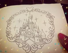 57 super ideas tattoo disney cinderella coloring pages Disney Castle Drawing, Disney Castle Tattoo, Disney Drawings, Trendy Tattoos, New Tattoos, Tatoos, Clock Tattoos, Disney Tattoos, Burg Tattoo