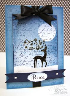 Dasher front: clear embossed the main image add a fine coat of glitter then clear embossed the image again so it creates the effect of falling snow