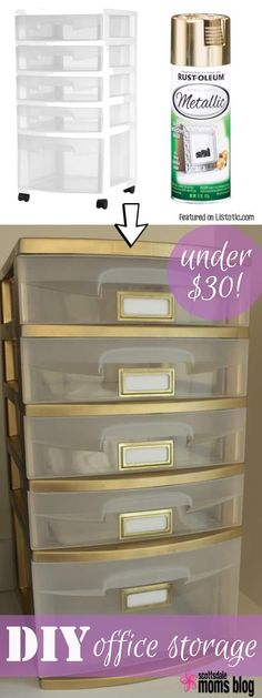 Give your plastic storage drawers a face-lift with spray paint! Perfect for a home office. -- Home décor ideas for cheap! Lots of Awesome and Easy DIY spray paint ideas for projects, home décor, wall art and furniture!! This makes refurbishing old things so much fun! Just visit thrift stores and dollar stores to make things on a budget! Listotic.com Plastic Storage Drawers, Plastic Drawer Makeover, Plastic Dresser, Diy Drawers, Diy Spray Paint, Spray Paint Projects, Spray Paint Plastic, Spray Painting, Spray Paint Storage